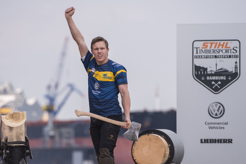 Ferry Svan of Sweden celebrates during the Stihl Timbersports Rookie World Championship at the Cruise Center Altona in Hamburg, Germany on May 20, 2017.