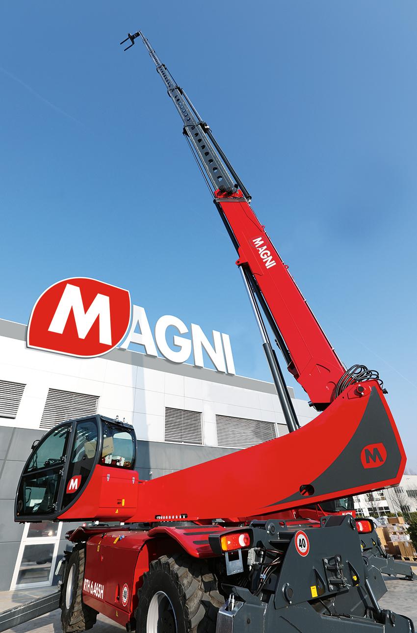 Med en lyfthöjd på hela 46 meter & max lyftkapacitet på så mycket som 6 ton är Magni RTH 6.46SH den runtomsvängande teleskoplastaren med absolut högst lyfthöjd & lyftkapacitet på marknaden.