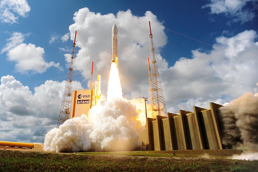 Liftoff av Ariane flyg VA233, med fyra Galileo satelliter, från Europas Spaceport i Kourou, Franska Guyana, 17 november 2016. Foto: ESA–Stephane Corvaja