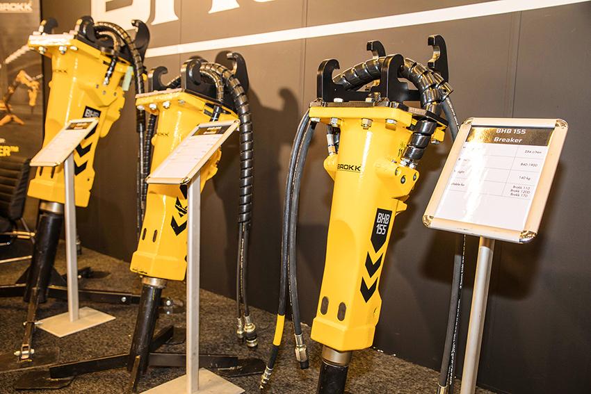 På Demconmässan visade Brokk sin egna serie med hydraulhammare Den nya serien hydraulhammare från Brokk består av åtta modeller från 50–700 kg. Foto: Per Eriksson.
