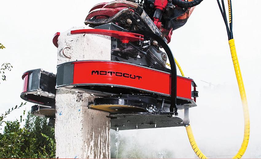 PÅ Demconmässan visade finska Motocut en pålkap för grävmaskiner. Pålkapen finns i två storlekar och kapar pålar upp till 400 mm i diameter.