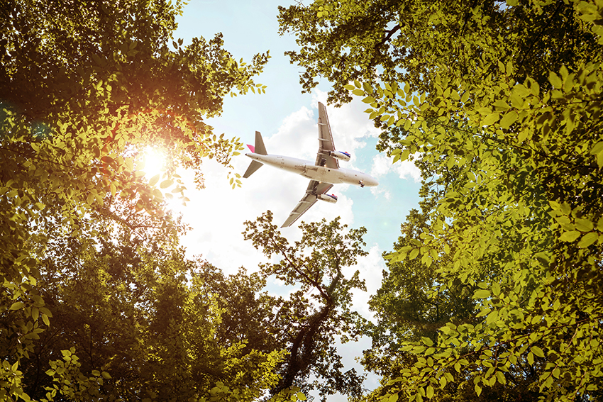 Composite image of airplane flying over trees