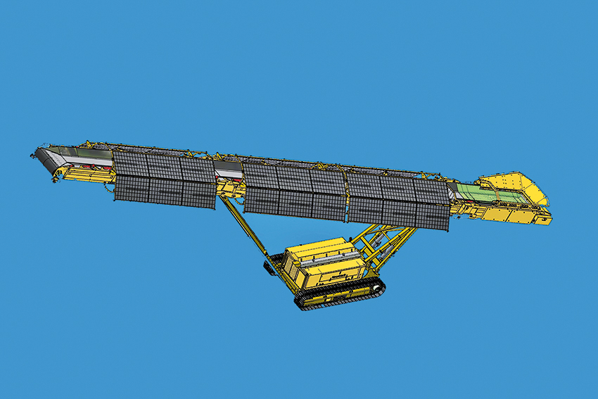 På Bauma kommer Keestrack visa den larvburna stackläggaren S5e Solar. Den 23 meter långa transportören är försedd med solceller, som i sin tur laddar chassits batteri på 23 kWh. Batteriet står för hela driften av stackläggaren. Vid dåligt väder eller väldigt intensiv användning kan stackläggaren laddas eller få kraft från extern källa, exempelvis krossens motorpaket eller elnätet.
