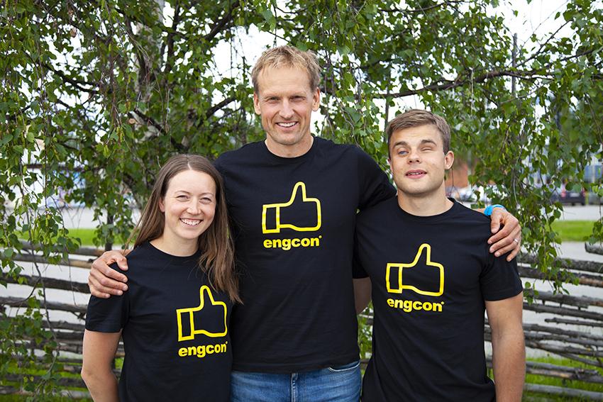 Team Engcon: Laila Kveli, Jerry Ahrlin och Sebastian Modin (samt Magnus Näslund, ej på bilden) Foto: Engcon.