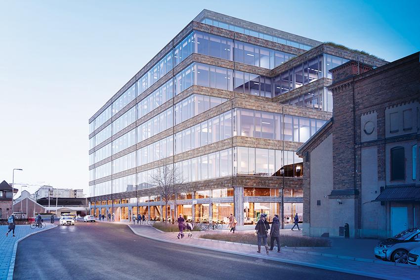 Magasin X i centrala Uppsala blir med sina sju våningar Sveriges största kontorsbyggnad i trä och nu står det klart att Martinsons upphandlats som leverantör av trästommen. Bild/montage: White Arkitektbyrå.